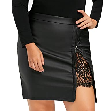 fe4aeabc85626 Women s Plus Size Versatile High Waist Bodycon Mini Skirt Girls Pu Leather  Lace Patchwork Zipprt Short