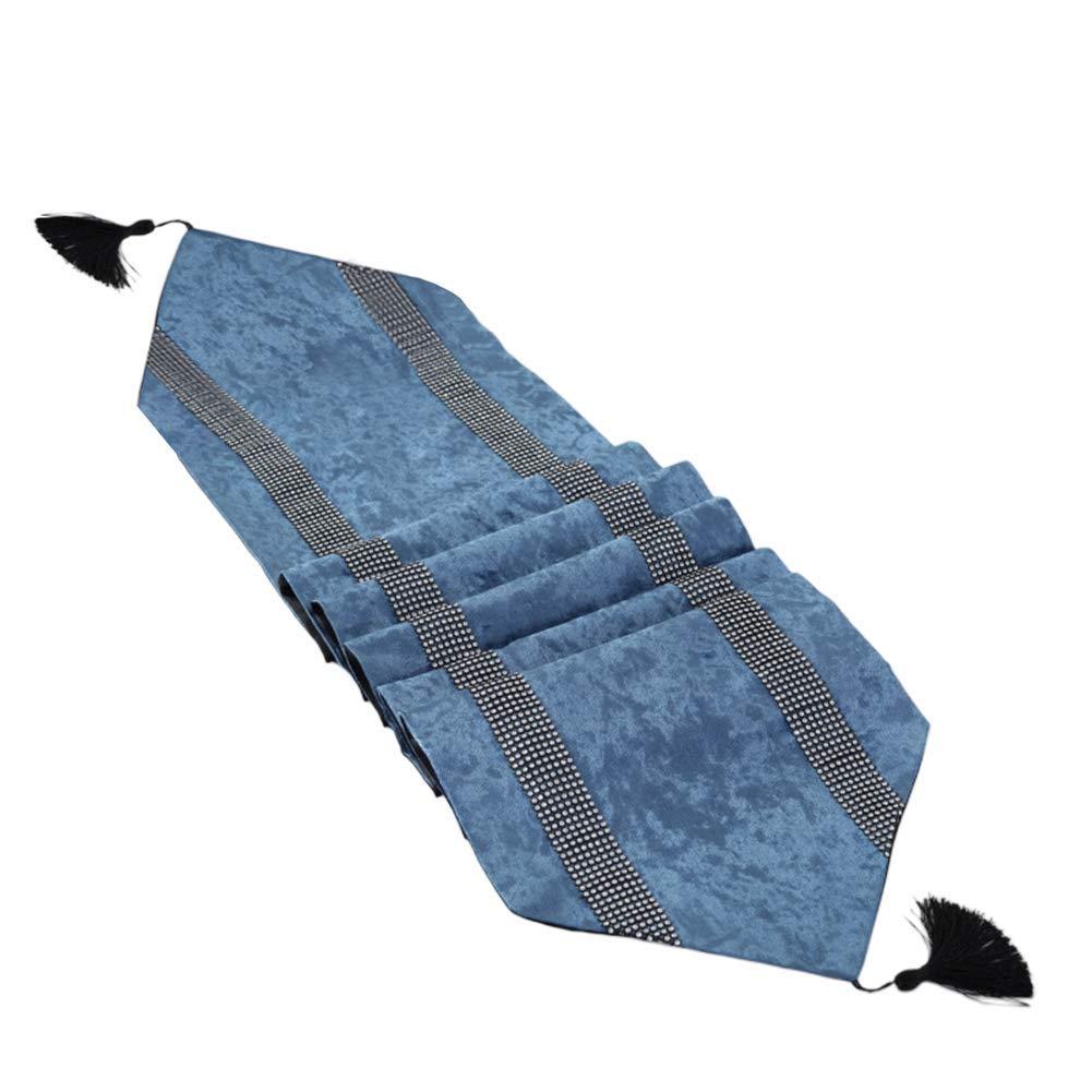 Azul Simple Moderno Caminos de Mesa Diamante Cuentas Comedor Terciopelo Caminos de Mesa Tapiz Decorativo Hotel Restaurante Camino de Mesa Camino de Mesa con Borlas Tira 33x180 CM