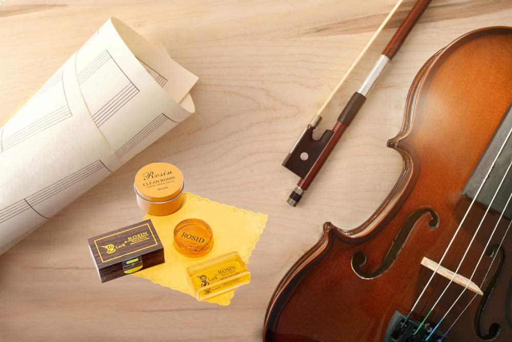 Fansjoy Violin Rosin 2 Pack Natural Rosin with Case Light Low Dust Rosin for Violin Viola and Cello Bows