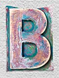 THndjsh Letter B Tapestry, Old Fashioned Print Method Wood Block Alphabet ABC Type Worn Capital B, Wall Hanging for Bedroom Living Room Dorm, 60 W X 80 L Inches, Teal Ivory Dark Coral