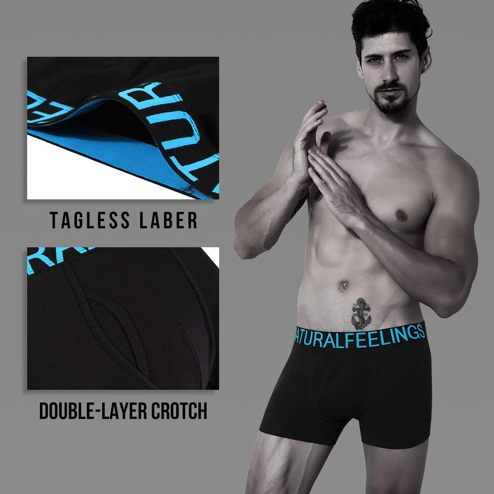 Natural Feelings Boxer Shorts Mens Underwear Cotton Full Rise Boxer Briefs with Open Fly S M L XL XXL B:logo 5
