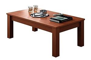 KR DECOR M221 C - Mesa fija de centro rectangular, madera, color Cerezo, 100 x 50 x 42.2 cm