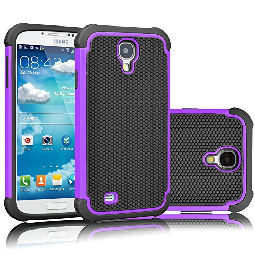 Tekcoo for Galaxy S4 Case, [Tmajor Series] [Purple/Black] Shock Absorbing Hybrid Rubber Plastic Impact Defender Rugged Slim Hard Case Cover Shell for Samsung Galaxy S4 S IV I9500 GS4 All Carriers (Best Rugged Galaxy S4 Case)