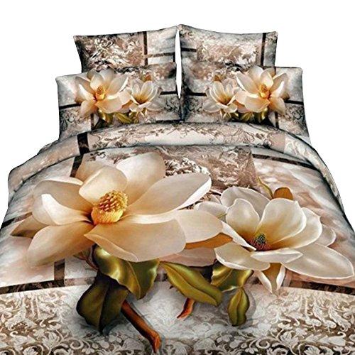 Magnolia Comforter Set - Ammybeddings Cotton Bedding Sets Queen, Luxury Bright Magnolia with Paisley Flower Print 3D Duvet Cover Sets, Floral Queen Bedding Sets 4 Pieces,No Comforter (Magnolia, Queen)