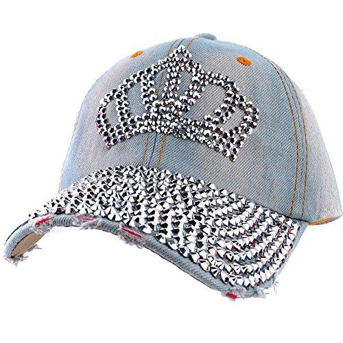 Rhinestone Cap - Elonmo Crown Design Womens Cotton Baseball Cap Rhinestone Bling Hats Jeans Wash Denim Adjustable Gift for Her (1#)
