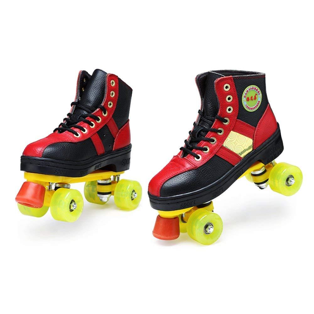 ZYH ローラースケート大人のインラインスケート男の子女の子二重車輪フルフラッシュファッションスケート靴ローラー動く 34  B07R9XJ327