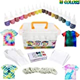 Vivuzono Tie Dye Kit 18 Colors 90 Rubber Bands 12 Protective Gloves Table Sheet Instruction Booklet In Colorful Carry Case DIY T-Shirts Shoes Hoodies Socks Fun Kit Essentials Included
