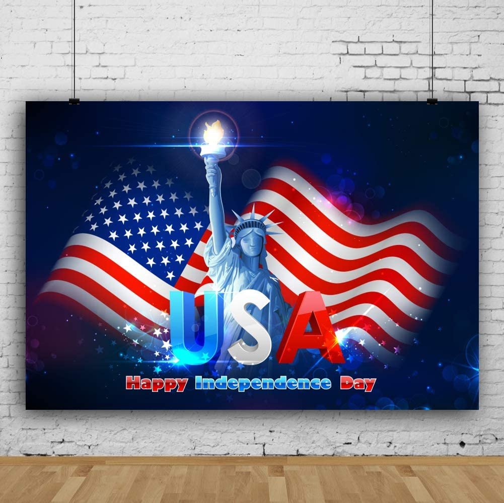 Leowefowa 5x3ft Statue of Liberty USA Flag July 4th Independence Day Photographic Backdrops Bokeh Glitter Spots Background 4th of July Photobooth Props Patriotic Party Presidents Day Birthday Backdrop