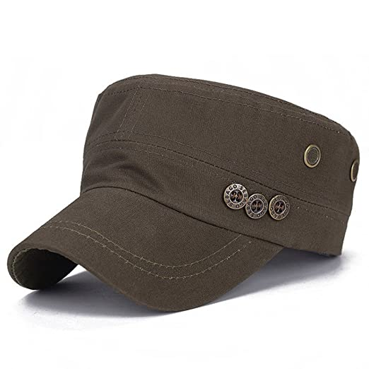 fe005ccf7ad Topcoco Mens Cotton Twill Baseball Cap Army Military Corps Hat Flat Top  High Crown Visor Army