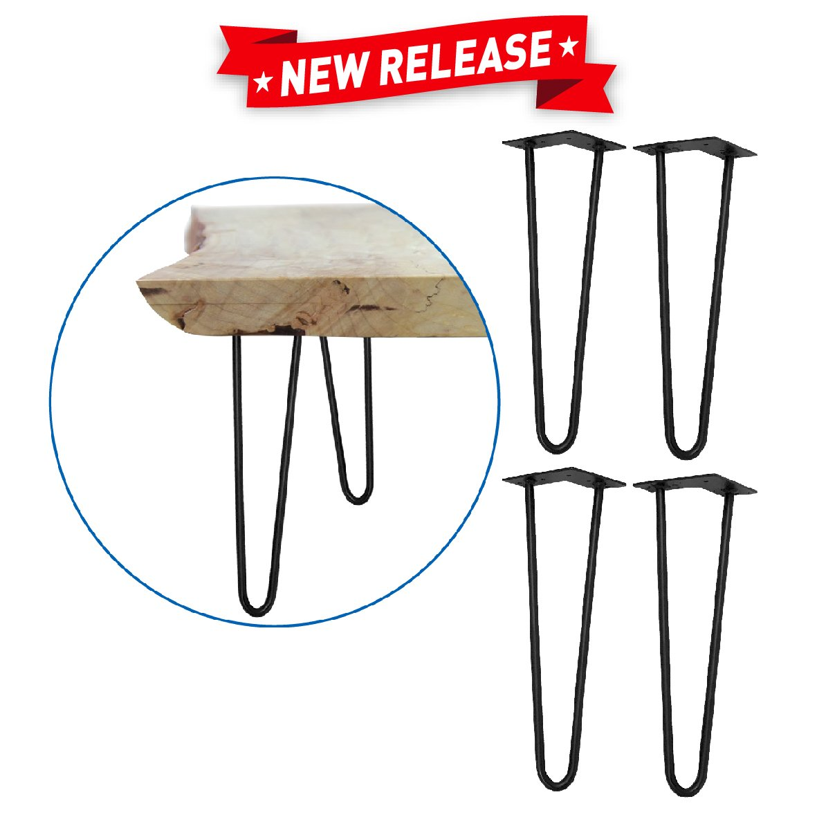 """EasyGoProducts EGP-TBL-002 EasyGo Hairpin Metal Coffee Mid-Century Table Legs 16"""" – Qty 4"""