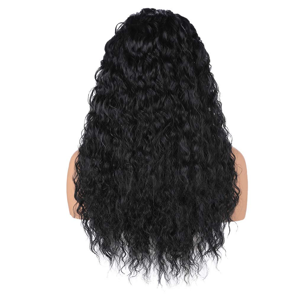 JYS Long Bob Lace Front Wig Synthetic Black Wig Glueless Wave Hair Heat Resistant Fibers Middle Parting 24 Inches for Ladies Cosplay Costume Halloween Party Hair Wig (Black) by JYS (Image #4)