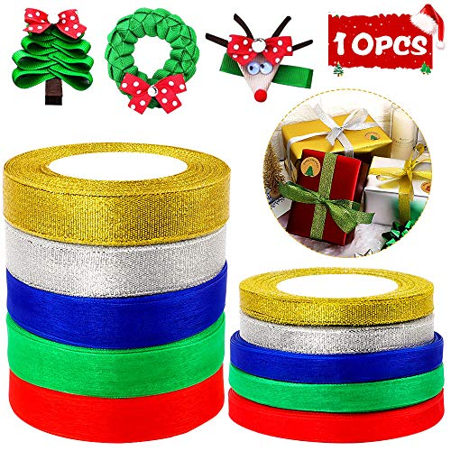 Isbasa 10 Rolls 400 Yards Christmas Satin Ribbon Roll, Sheer Organza Metallic Glitter Ribbon, 5 Colors Ribbon for Christmas Gift Wrapping(20mm and 10mm)