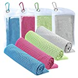 Cooling Towel [4 Pack] Workout Towel Sport Towels Microfiber Towel Fast Drying Super Absorbent Ultra Compact Cooling Towel for Sports Workout Fitness Gym Yoga Pilates Travel & More (Solid Color)