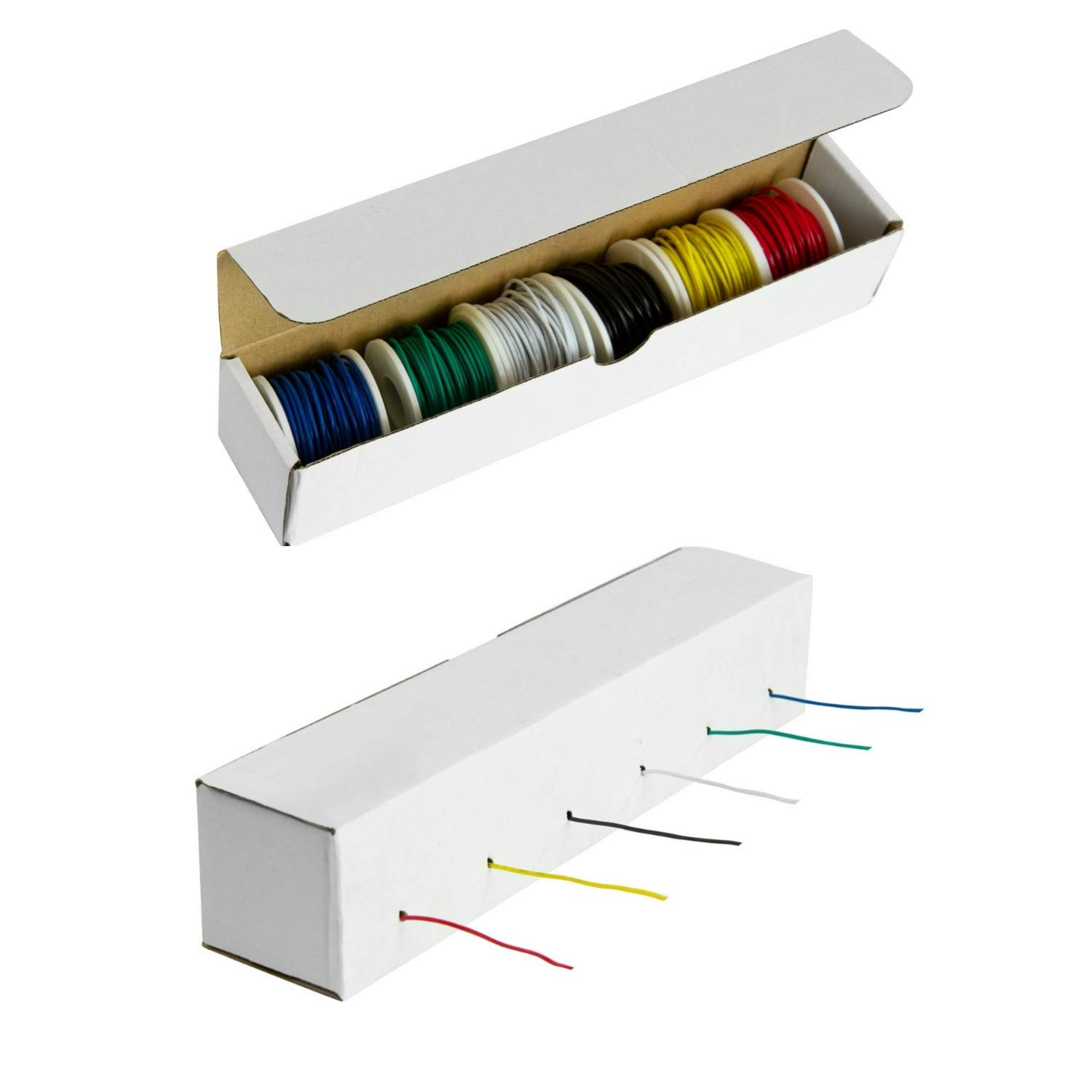 Houseables Electrical Wire Kit, Solid Hook Up Electric Wiring, 6 x 22 Gauge Spools (27.5 Feet Each), Red, Black, Green, Yellow, White & Blue AWG Assortment, Electronic Hookup Core Wires, Thin Coated