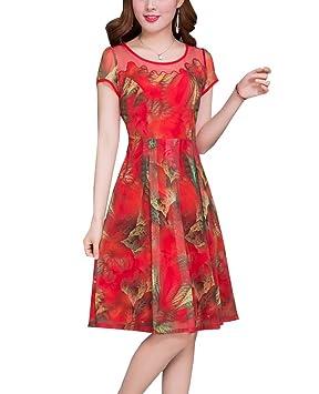 Vestidos Estampados Cortos Mujeres Casual Playa Vestido Flores Corto Cuello Redondo Manga Corta Vestido Rojo L