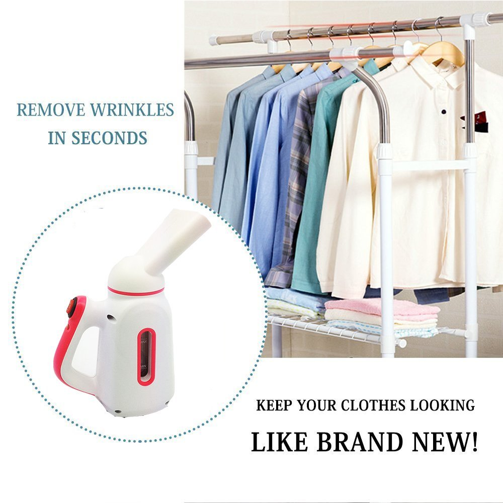 Garment Steamer For Clothes, Steamer Spa, Wrinkle Remover, Perfect Travel Portable Steamer, Compact Size for Home and Travel Use, Ultra Fast Heat Up and 100% Safe, Clean, Sterilize, Handheld (Red)