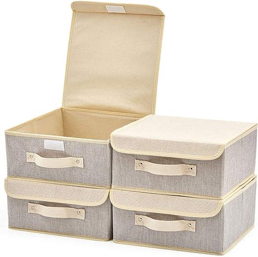 EZOWare 4 pcs Cajas de Almacenaje, Cubo Decorativa de Tela Plegable Resistente con Tapa para Habitación de Bebé, Closet, Dormitorio, Estanterías y Mas - (26.7 x 26.7 x 12.8 cm) (Gris y Beige): Amazon.es: Hogar