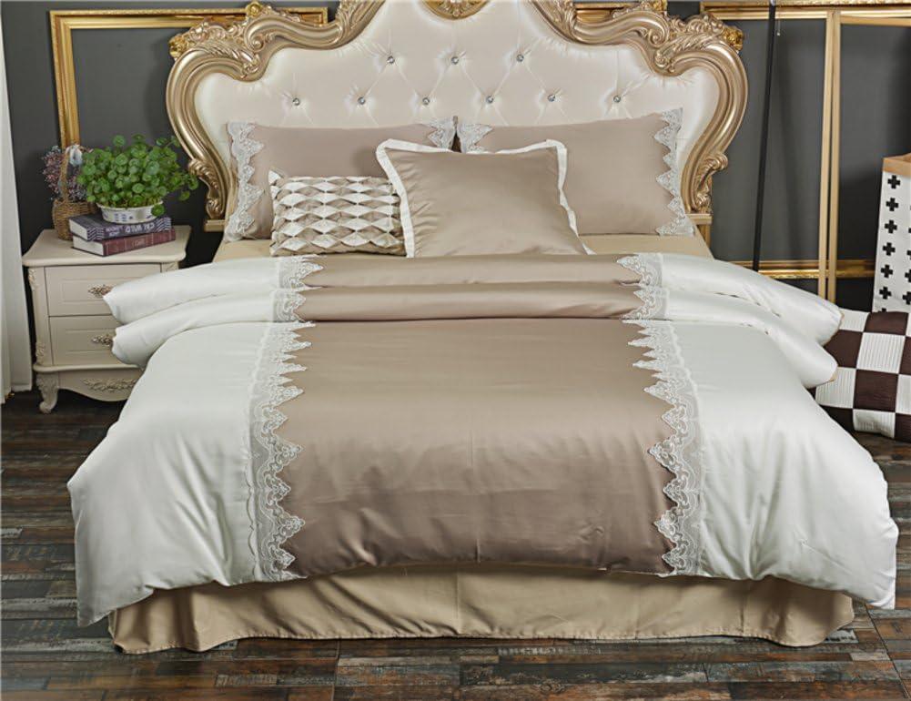 4PCS COMPLETE BEDDING SET 3PCS DUVET SET LOVE IN SLEEP BROWN FRILLED