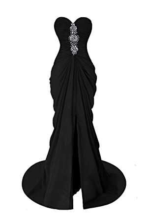 Fanciest Womens Mermaid Prom Dresses Long Beaded Split Sexy Evening Formal Gowns Black US2