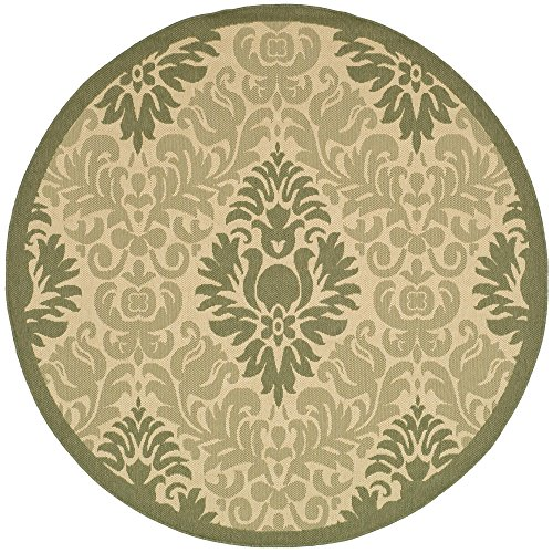 Safavieh Courtyard Collection CY2714-1E01 Natural and Olive Indoor/ Outdoor Round Area Rug (6'7
