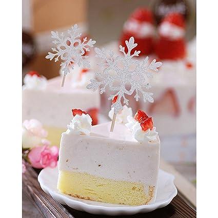 Amazon.com: Cupcake Toppers Toothpicks Snowflake Cupcake Topper ...