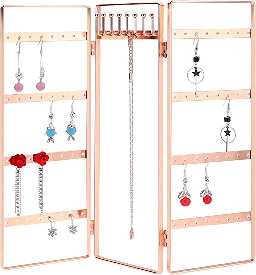 Foldable Jewelry Hanger LEORISO 3-Panel Jewelry Organizer Portable Jewelry Display Rack for Earrings Necklaces /& Bracelets Gold Metal Jewelry Holder