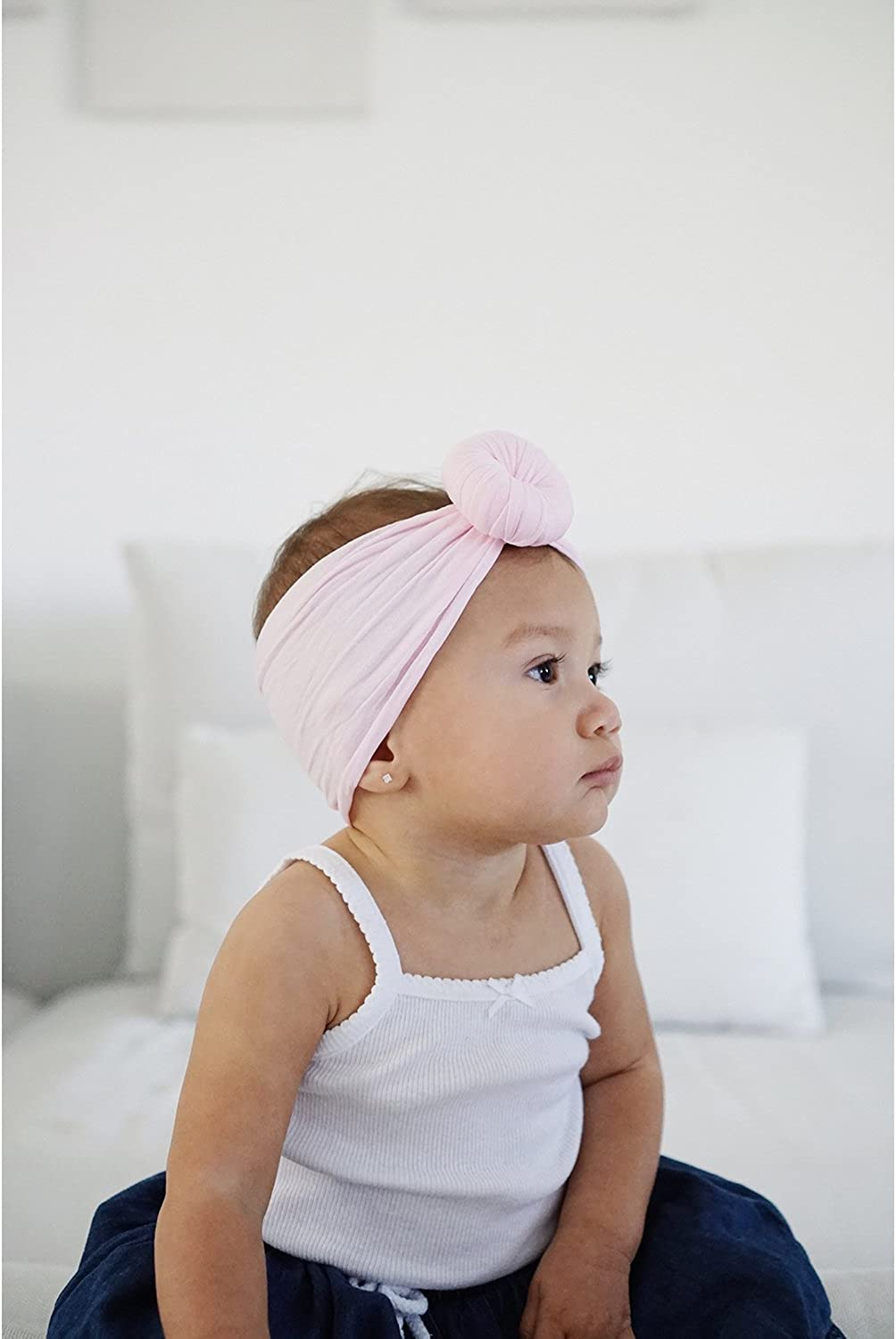 Solid Colors Infant Toddler Cute Baby Rabbit Ear Hair bands for Newborn Baby Girls Headbands Knotted Girls and Children KECUCO 8 Pack Baby Turban Headband and Bows