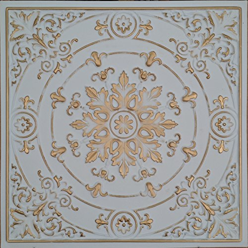 (Drop in Ceiling Tiles Faux Tin Painted white gold Coffee Decor Wall Panels PL18 10pcs/lot)