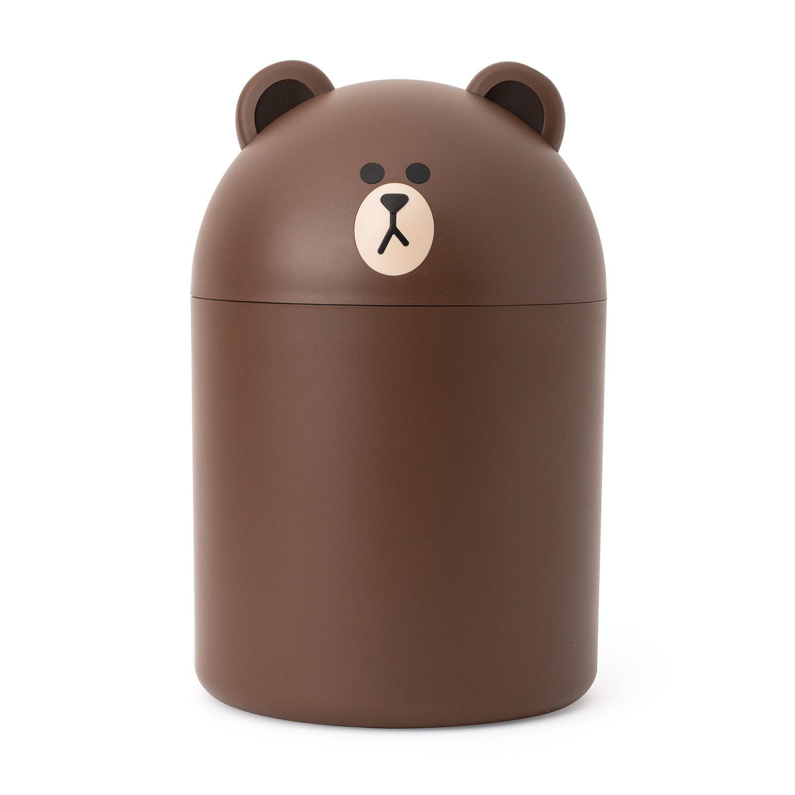 LINE FRIENDS Brown Mini Rubbish Bin 8.7 inches Brown