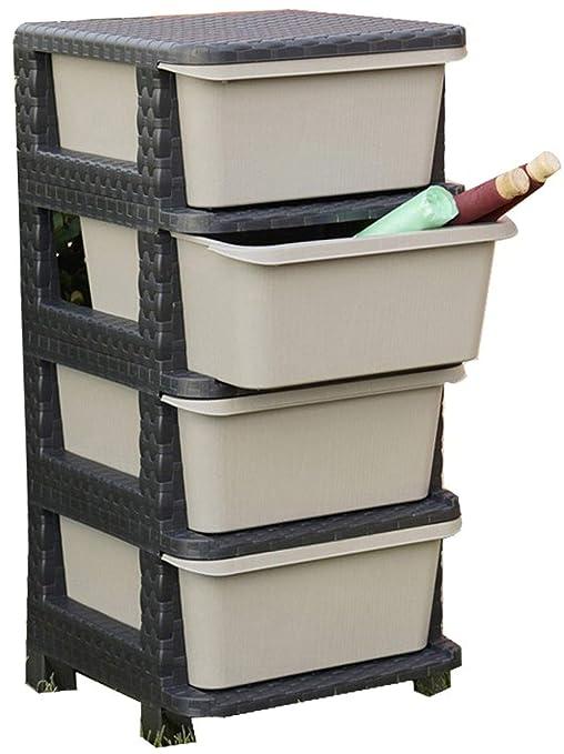 Mueble cajonera 4 cajones de dura plástico de resina Negro antracita textura imitación ratán Puerta Frutas