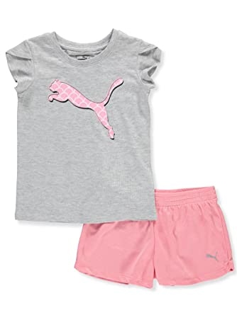 9f7a8c0fa12bf PUMA Baby Toddler Girls' 2 Piece Tee & Mesh Shorts Set