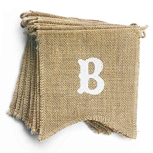 dealzEpic BABY SHOWER - Rustic Burlap Banners Baby Shower Party Decoration Props - 11pcs Swallowtail Shaped Banners