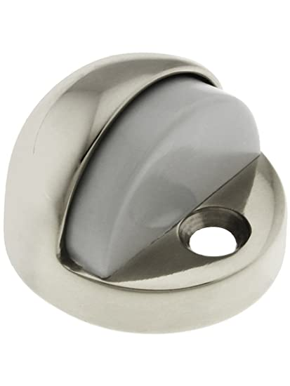 Solid Brass High Dome Door Stop With Grey Rubber Bumper In Polished Nickel