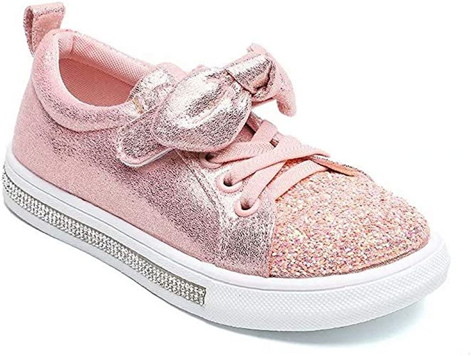 Baby Toddler Girls Adorable Light Up LED Shoes Easy On Off Strap Casual Sneakers