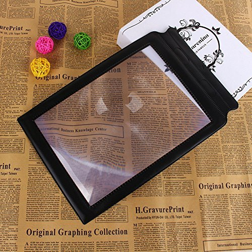 Handheld Reading Magnifier (3X), ixaer A4 Full Page Large Sheet Magnifier Magnifying Glass Reading Aid Lens Fresnel - Large Viewing Area Ideal for Small Prints, Book, Newspaper, Maps