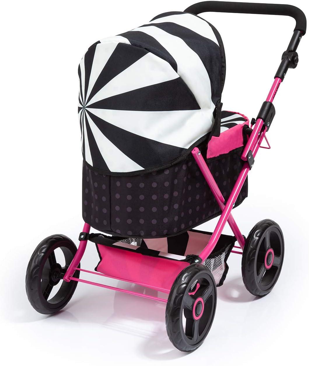Color Negro Bayer Design- Cochecito de Mu/ñeca Cosatto CABI 13004AB con Bolso Cambiador Rosa Plegable Ajustable Blanco
