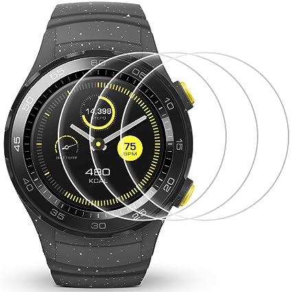 AFUNTA Protector de Pantalla para Huawei Watch 2, 3 Pack de películas de protección de Vidrio Templado Anti-Scratch Cubierta de Alta definición para ...