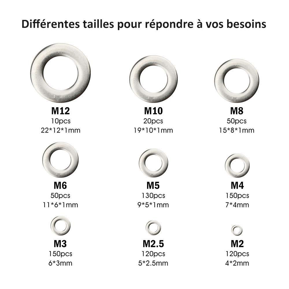 Bagues D/étanch/éit/é Rondelle Plate pour L/étanch/éit/é des Vis Accessoires de ISO 7089 DIN 125 100 Pcs Rondelles Plates en Acier Inoxydable, 8mm x 16mm Tailles: M8