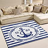ALAZA Blue White Nautical Anchor on Striped Area Rug Rugs for Living Room Bedroom 7′ x 5′ For Sale