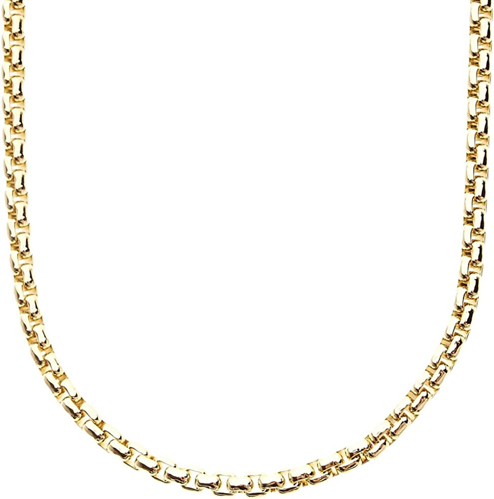 90cm Iced Out Bling Round Box Chain 4mm Gold