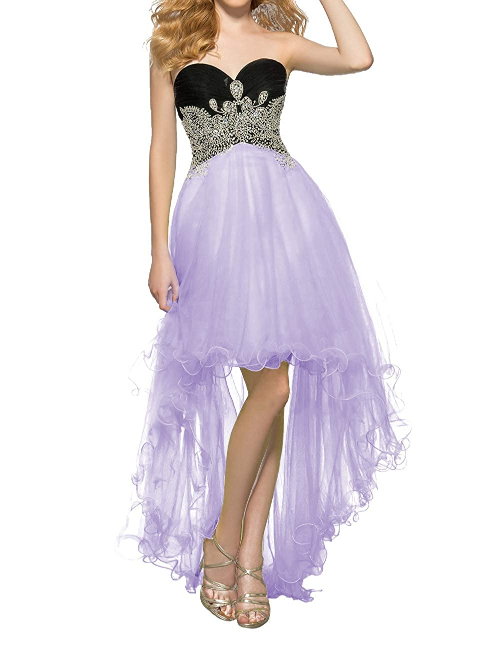 Lavender Uther Women's Tulle HiLow Beaded Prom Dresses Strapless Evening Homecoming Cocktail Gowns