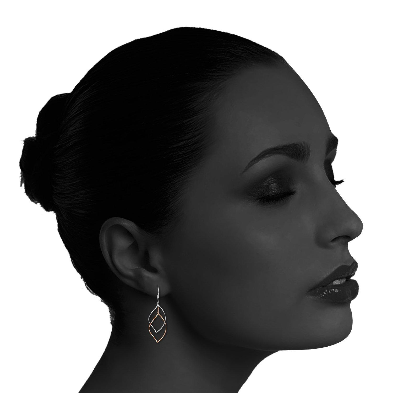 Rose Gold Plated Sterling Silver Double Linear Loops Design Twist Wave Drop Earrings for Women Girls by JORA (Image #4)