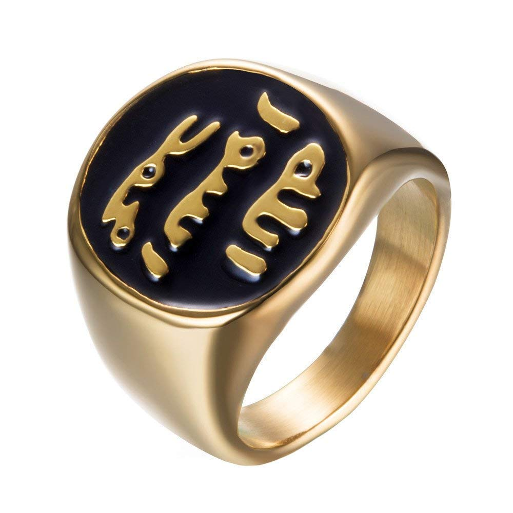 XBYN Anello con Sigillo Uomo Acciaio Musulmana Islamica araba Medio Orientale Shahada Gioielli Religiosi XB-Ring