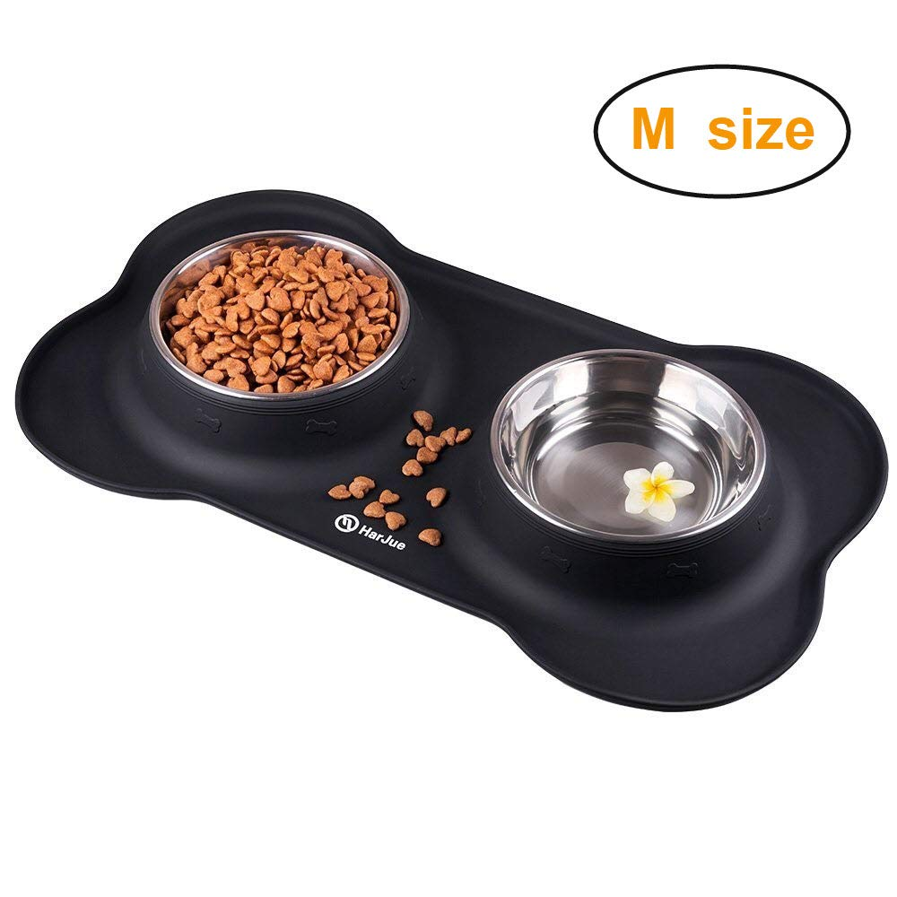 HarJue Dog Bowls, Stainless Steel Dog Food Bowl, Dog Water Bowls Pet Bowl with No-Spill Non-Skid Silicone Mat, Feeder Bowls for Dogs Cats Pets, Set of 2 Bowls
