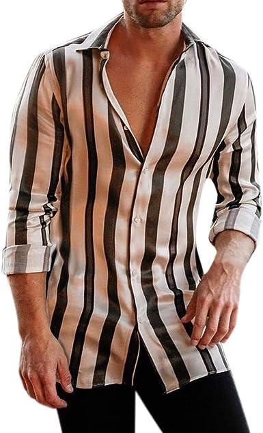 Dragon868 2020 Suave Hombres Rayas Verticales Manga Larga Camisas Casuales: Amazon.es: Ropa y accesorios