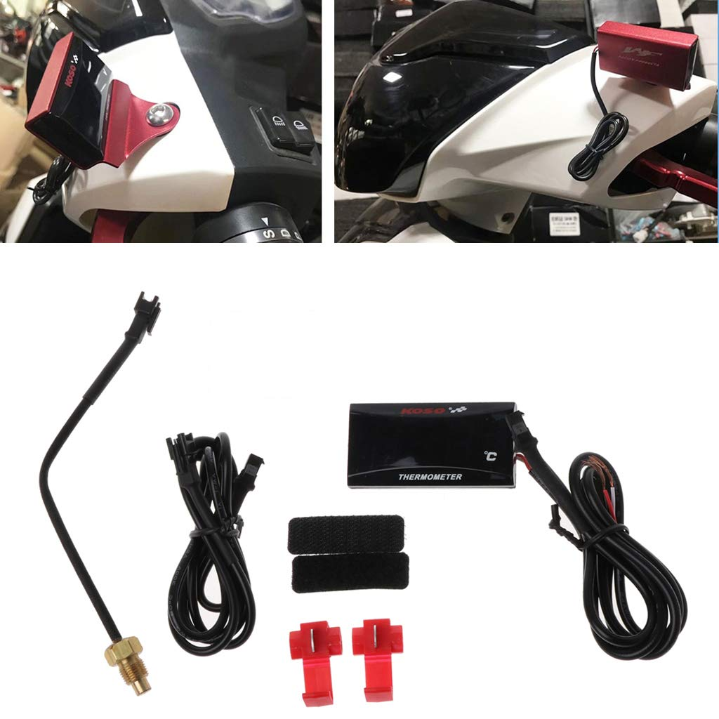 JIACUO Universal Moto LCD Term/ómetro Digital Instrumento Medidor de Temperatura del Agua Medidor para KOSO Racing Scooter