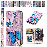 E-Mandala Samsung Galaxy S7 Edge Case Butterfly PU Leather Flip Case Wallet Cover with card holder kickstand Shell Soft TPU Silicone Bumper Cover