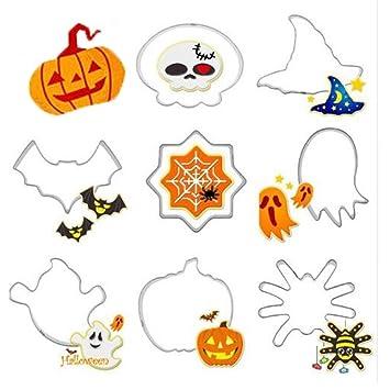 JUNGEN® 8PCS Moldes para Galletas Molde de Halloween Molde de Acero Inoxidable Para Cortadores de Galletas Hornear Fondant Decoración para Tartas: ...