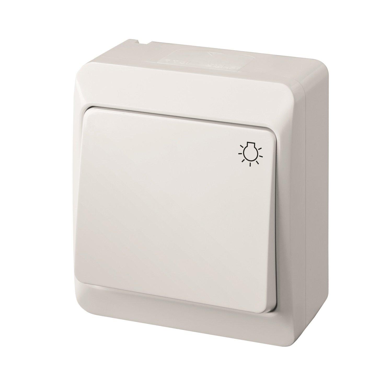 Taster Steckdose Unitec Feuchtraum Spritzwassergeschützt IP44 weiß Schalter