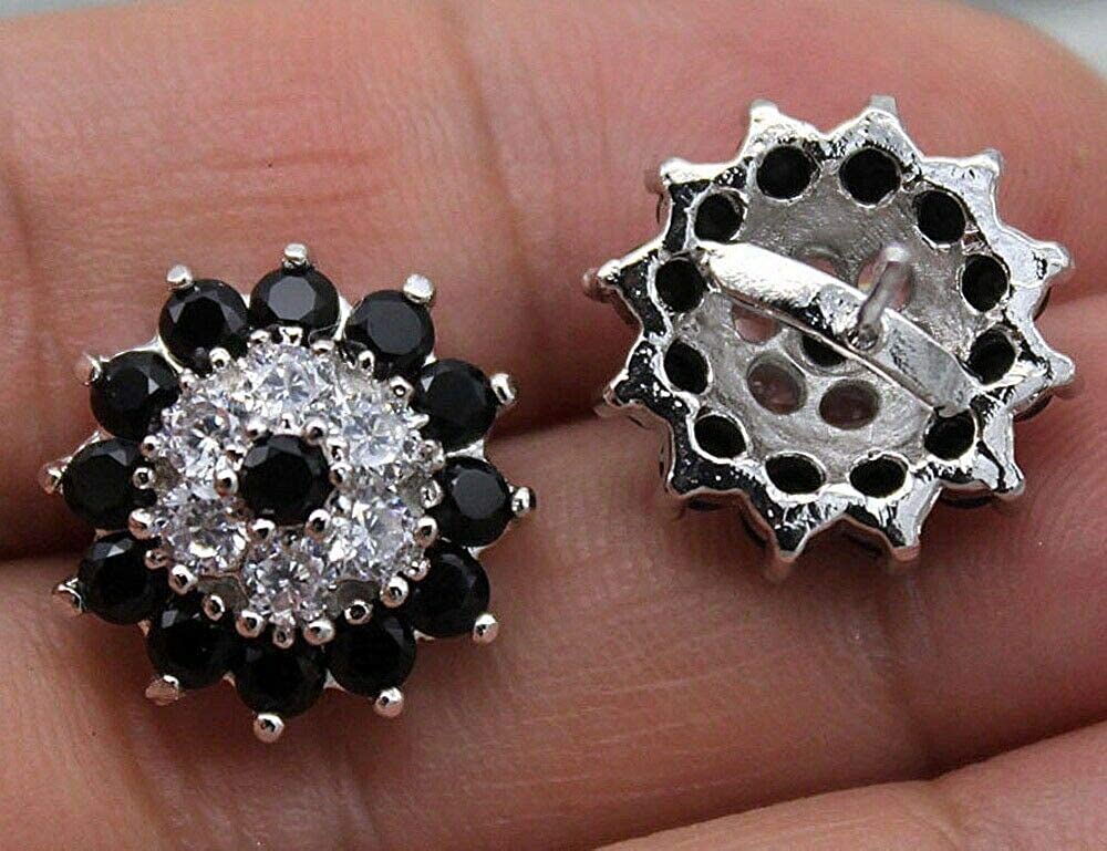 1.20Ct Round Cut Black /& White Diamond Cluster Stud Earrings Solid .925 Sterling Silver For Womens /& Girls